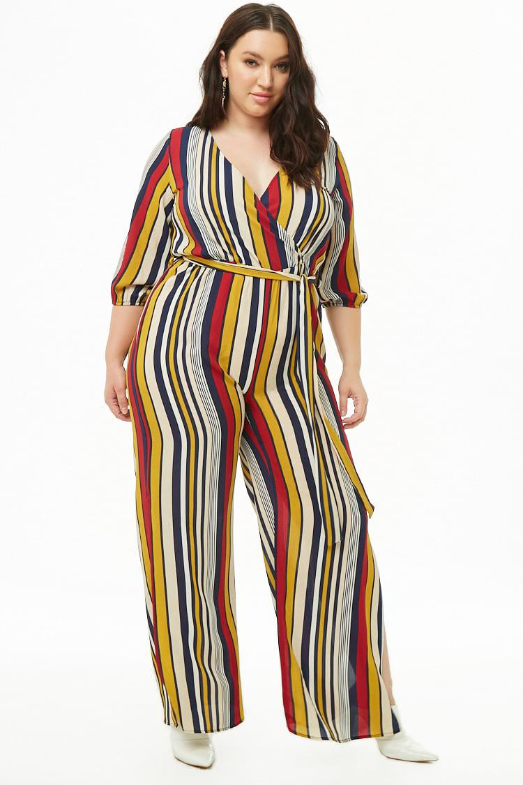 b35d70ba3ed67 Forever 21. Women s Plus Size Striped Surplice Crepe Jumpsuit