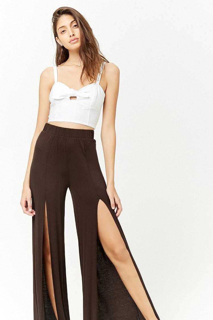 163f95378c Forever 21 Split-front Knit Wide-leg Pants in Brown - Lyst