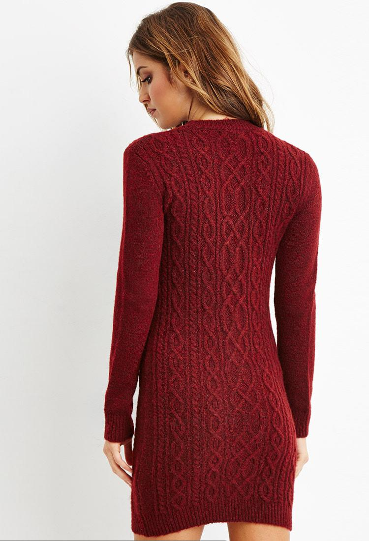 e71738e26f3d Lyst - Forever 21 Cable Knit Sweater Dress You ve Been Added To The ...
