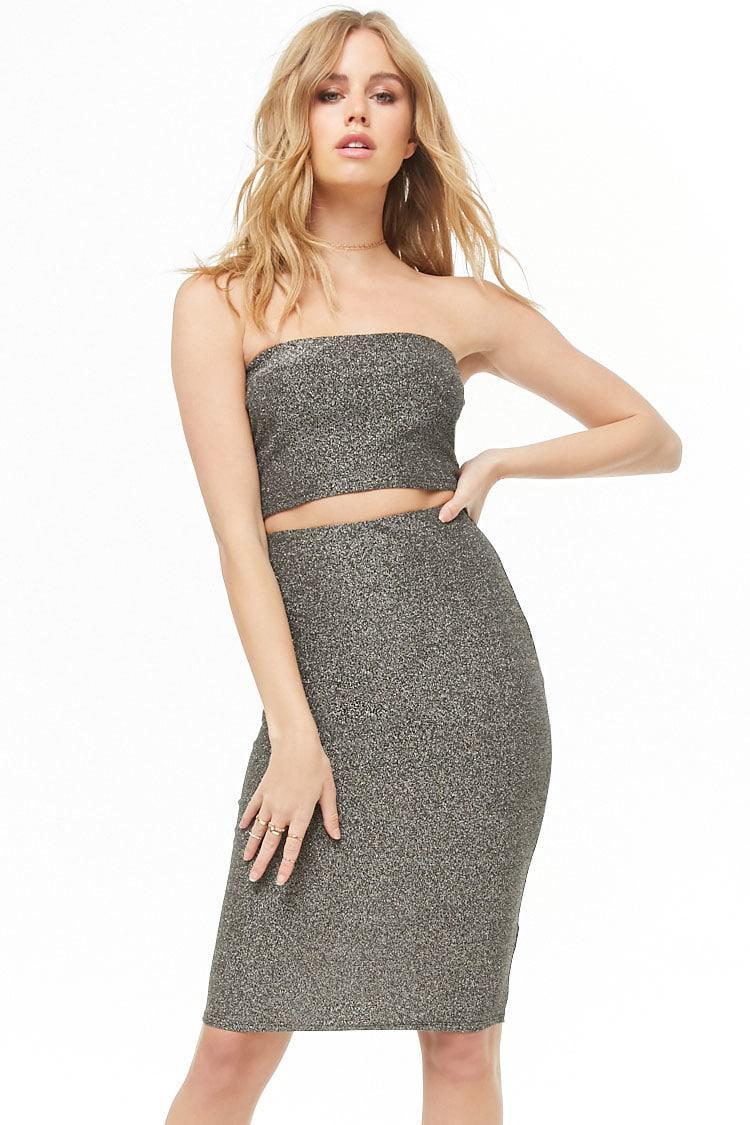 5624a564 Lyst - Forever 21 Glitter Knit Tube Top & Skirt Set in Metallic