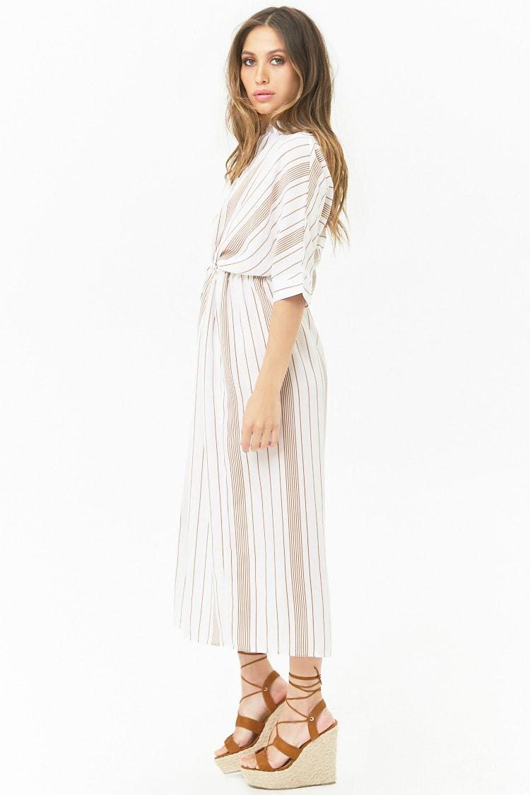 dd17e4bdfacb Lyst - Forever 21 Striped Woven Button-front Maxi Dress