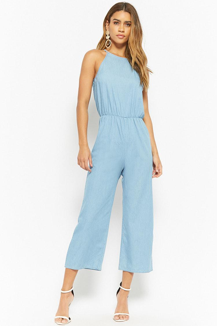 c3487caf024 Lyst - Forever 21 Chambray Gaucho Jumpsuit in Blue