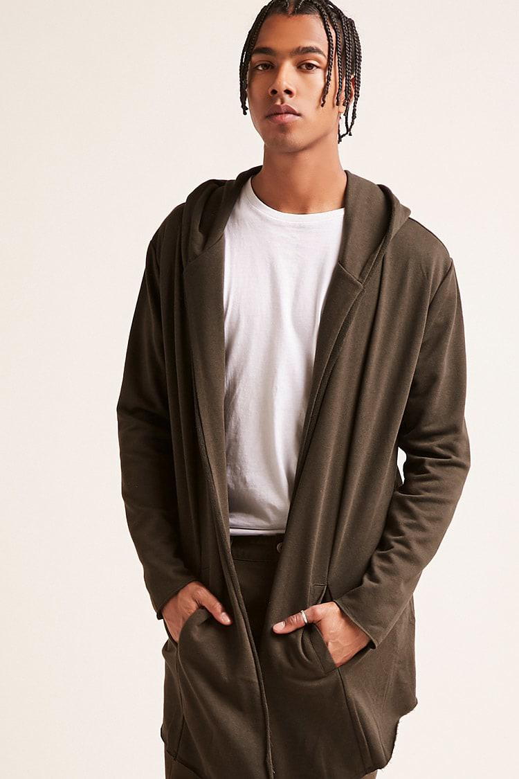 2bf5510457116f Forever 21 's Hooded Open-front Longline Cardigan Sweater in Green ...