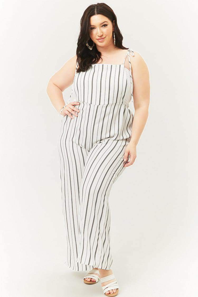 27ac7f60dad1 Forever 21 Plus Size Self-tie Cami Jumpsuit in White - Lyst