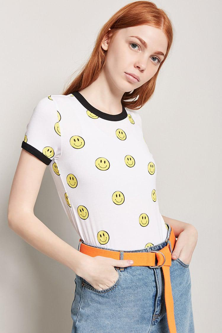 1e0a15051 Forever 21 Happy Face Graphic Ringer Tee in White - Lyst