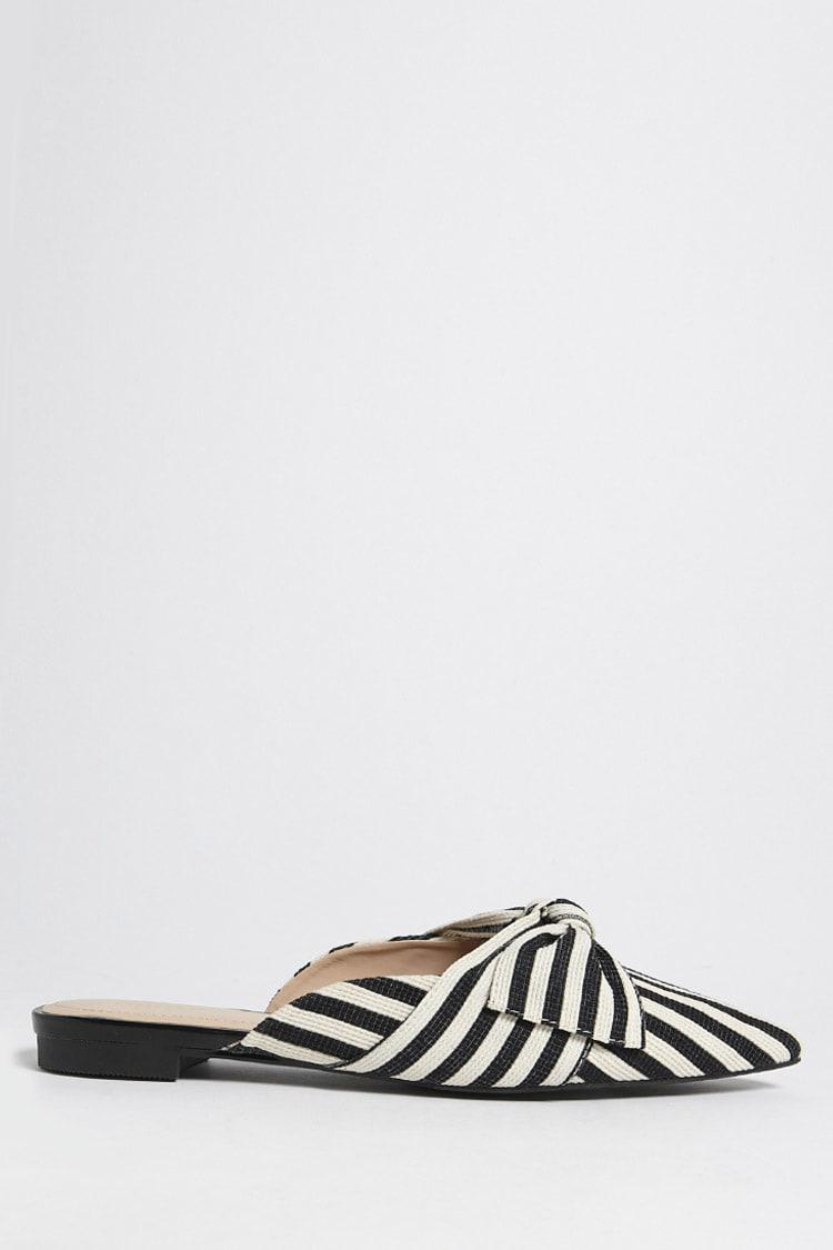 e9b0bbbde0d Forever 21 Striped Bow Mules in Black - Lyst