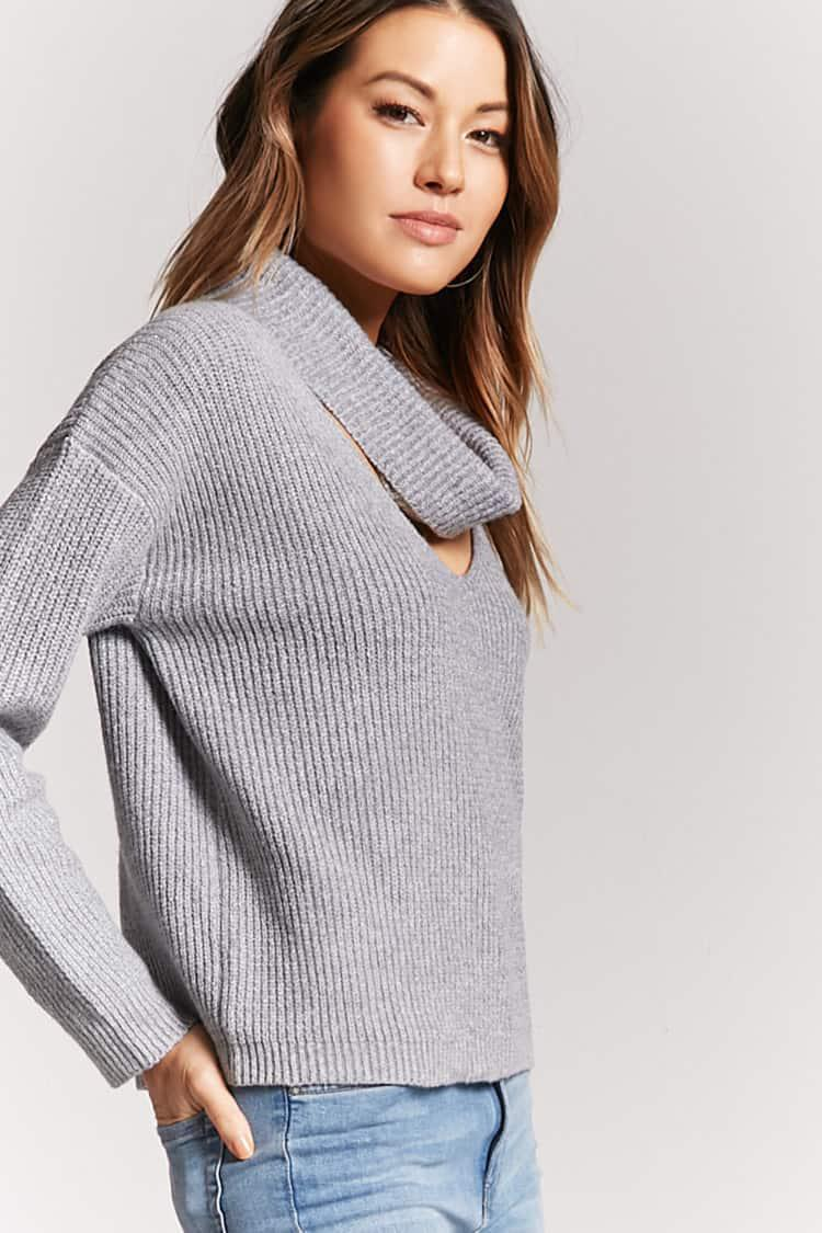 9aaf4dd376ae49 Forever 21 Ribbed Cutout Cowl Neck Sweater in Gray - Lyst