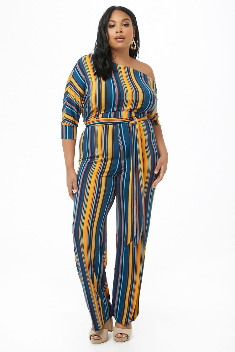 594f57077e91 ... Women's Plus Size Striped One-shoulder Palazzo Jumpsuit - Lyst. View  fullscreen