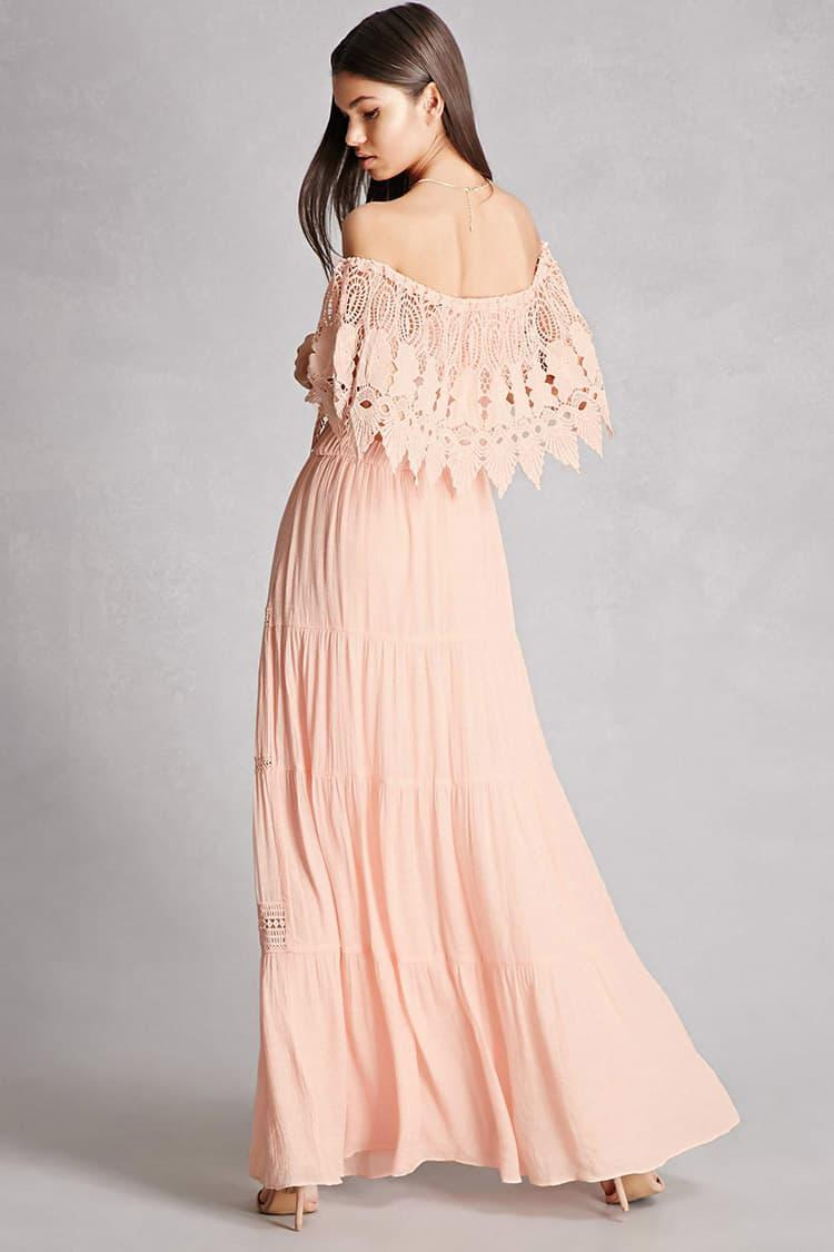 ec76704e87b Forever 21 Off-the-shoulder Maxi Dress in Pink - Lyst