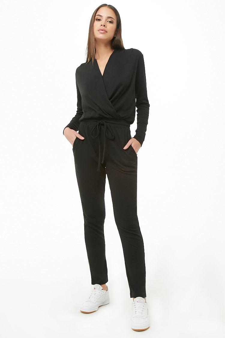 8bb56afec8ac Forever 21 Marled Surplice Drawstring Jumpsuit in Black - Lyst