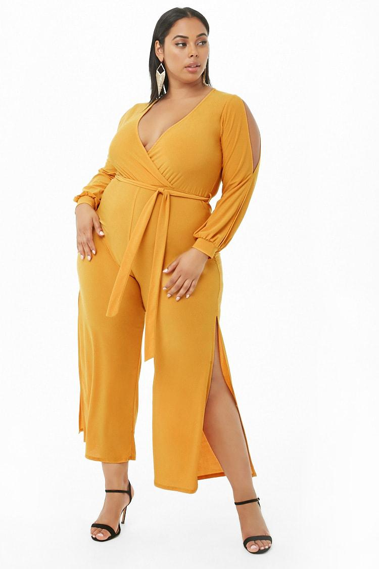 d55be95165c7 Forever 21 Plus Size Surplice Belted Jumpsuit in Yellow - Lyst