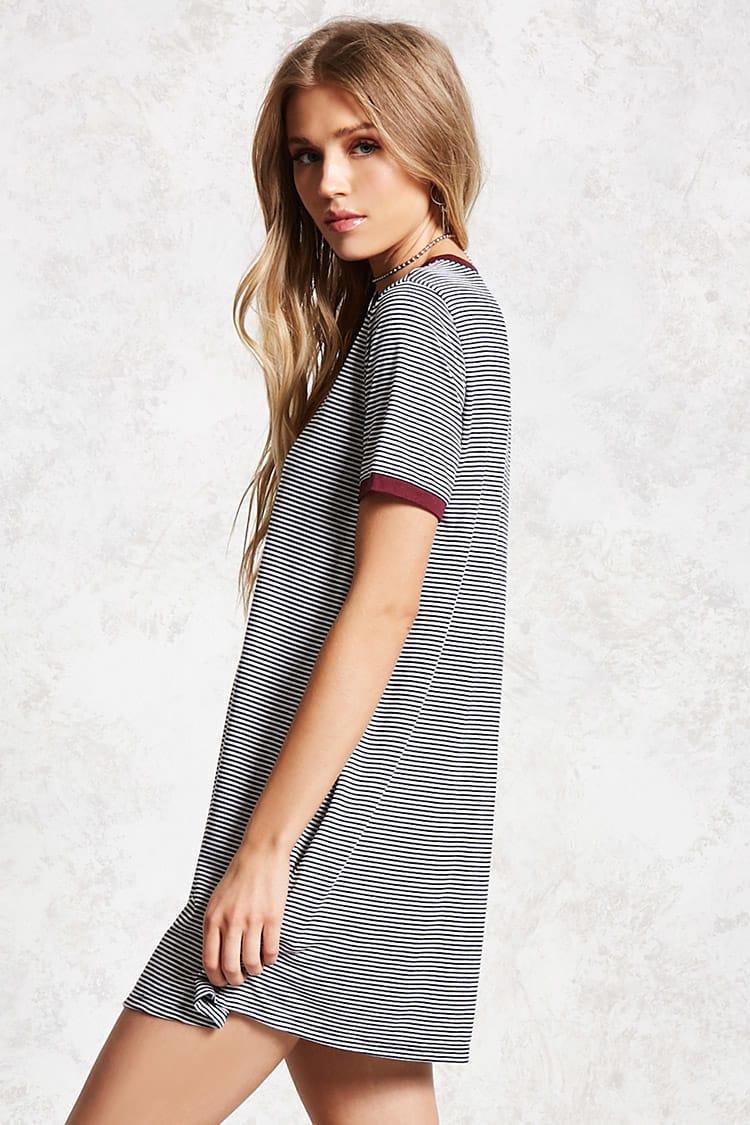 ac919c4b422e27 Forever 21 - Black Striped Ringer T-shirt Dress - Lyst. View fullscreen