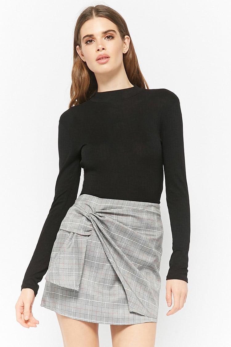 6c6a4bd5eb8 Forever 21 Glen Plaid Mock Wrap Skirt in Black - Lyst