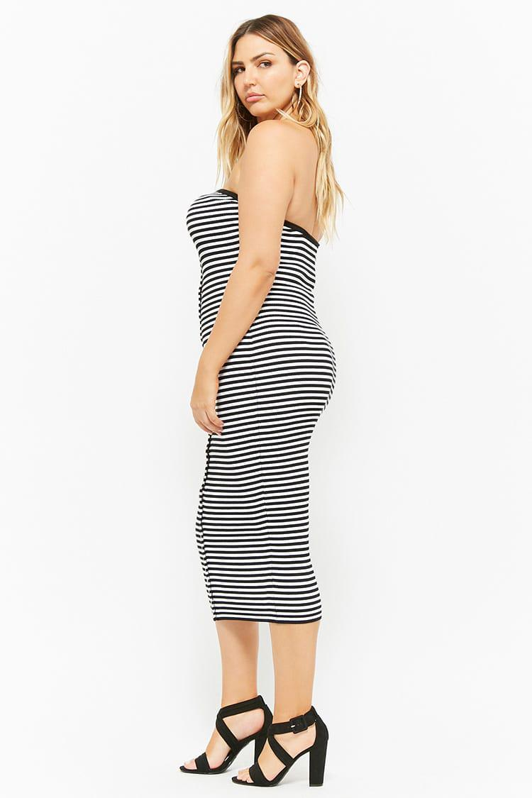 13bf1a68d1 Forever 21 - Black Plus Size Striped Button-front Midi Tube Dress - Lyst.  View fullscreen