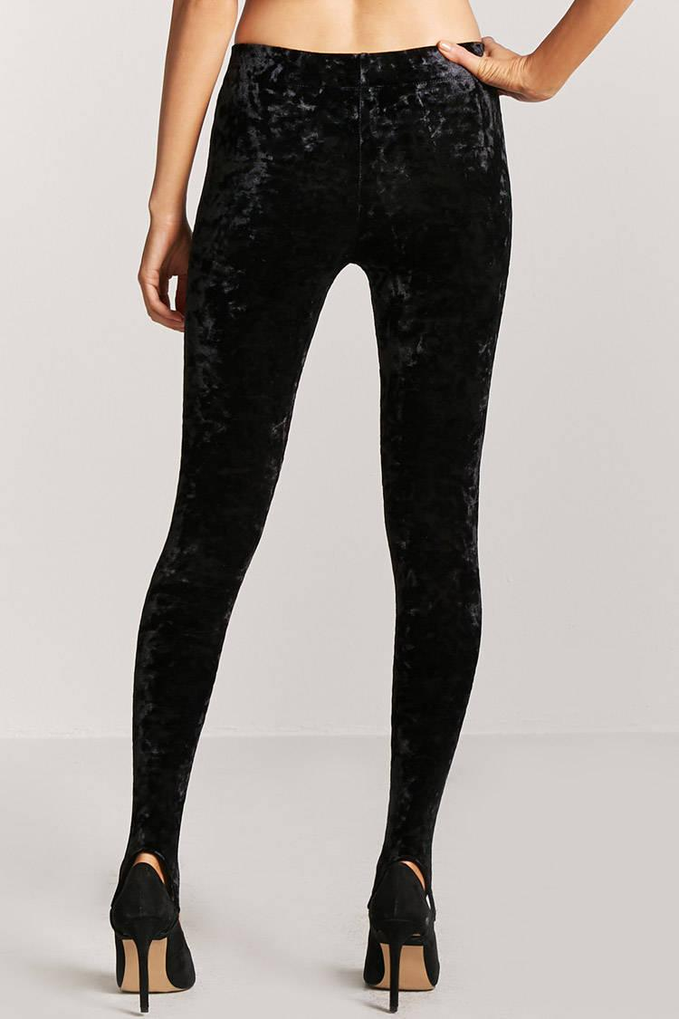 a865537eca94cc Forever 21 Crushed Velvet Stirrup Leggings in Black - Lyst