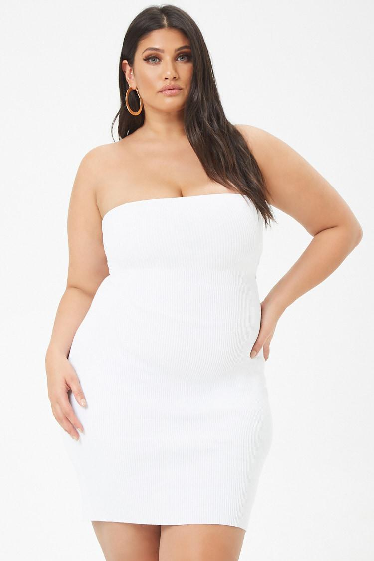 Forever 21 Women\'s Plus Size Caged Back Tube Dress in White ...