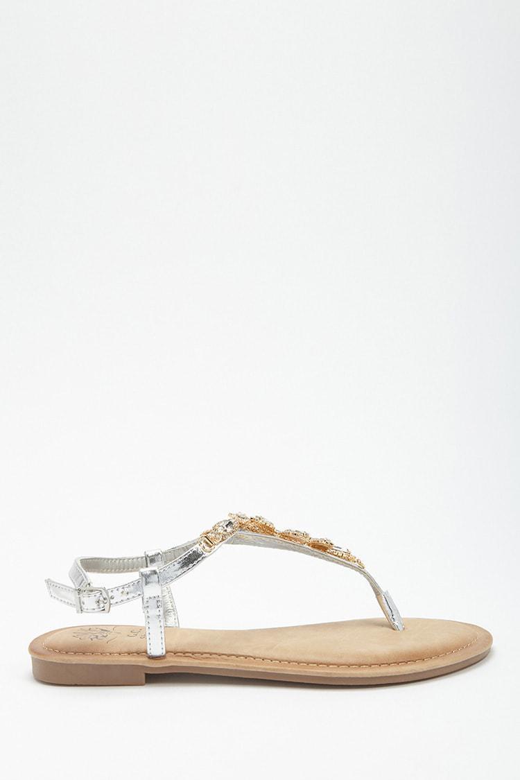 c700f1d3b039 Lyst - Forever 21 Ornate Rhinestone Thong Sandals in Metallic