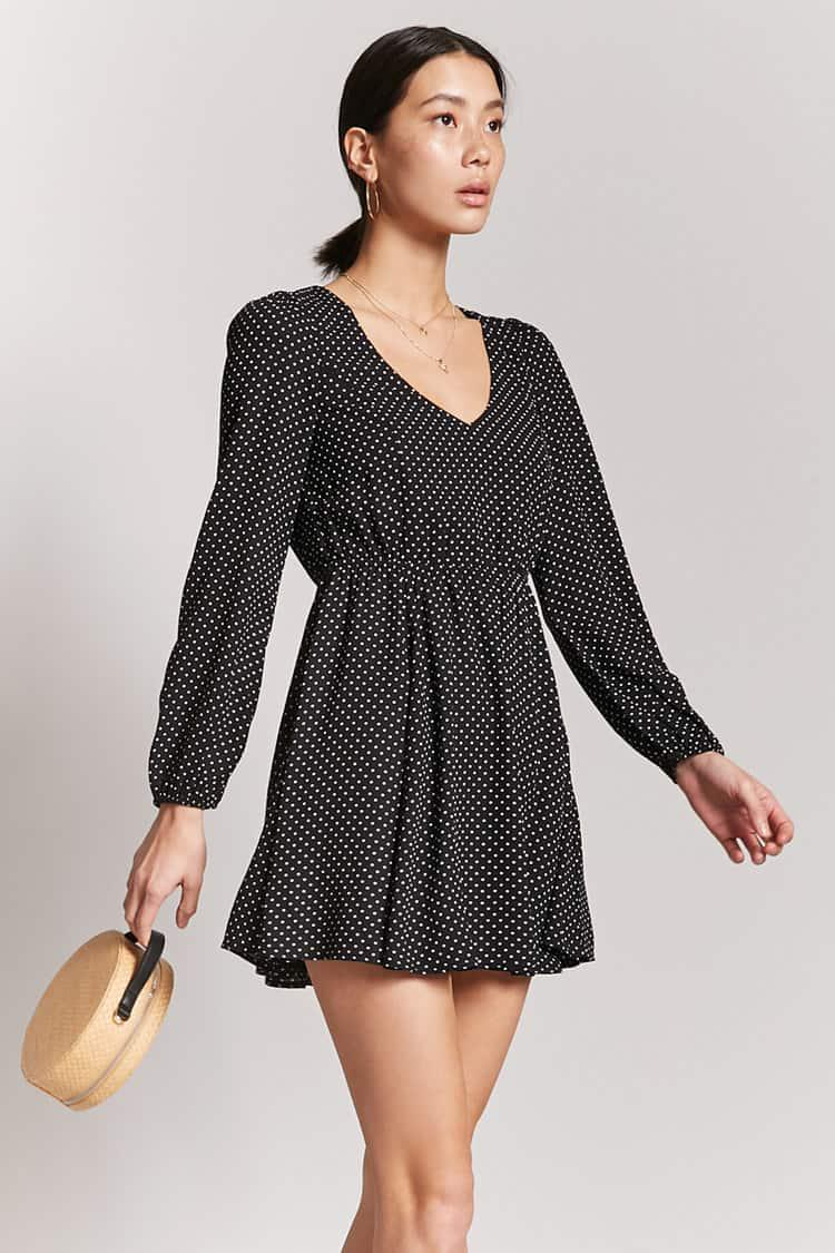 Forever 21. Women s Black Polka Dot Skater Dress f6774a496