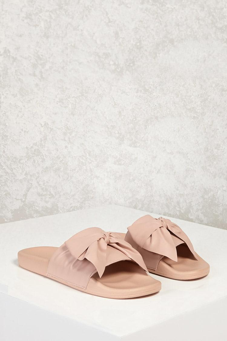 7584e0040c03bb Lyst - Forever 21 Faux Leather Bow Slide Sandals in Pink