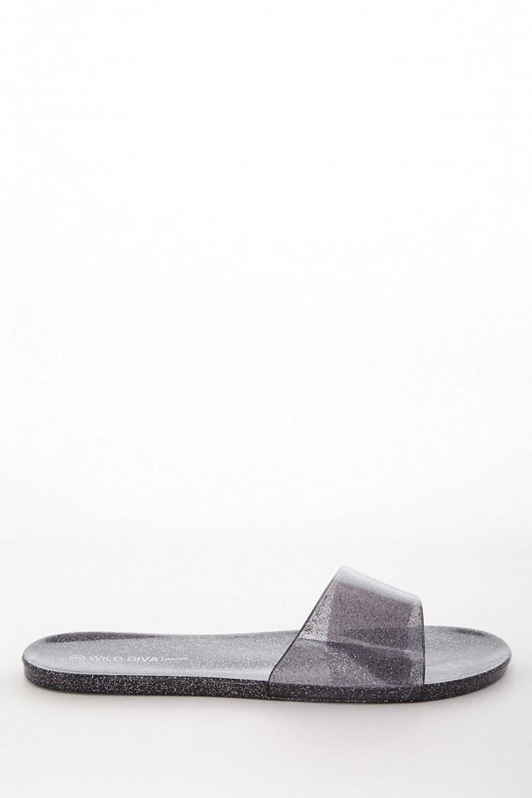 1023e00f4ad1 Lyst - Forever 21 Glitter Jelly Slide Sandals in Black