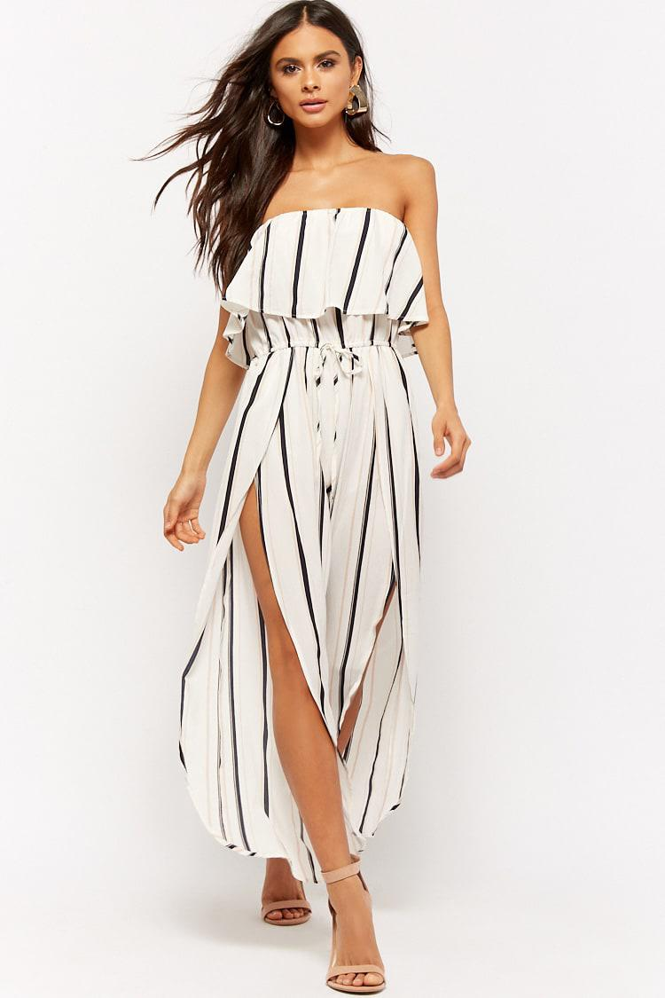 a5b8a2634638 Forever 21 Striped Flounce Jumpsuit in White - Lyst