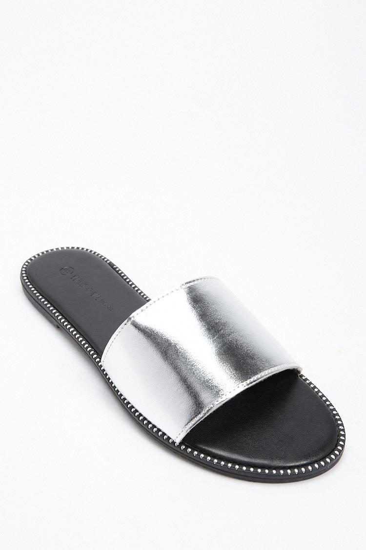 3634e3c6662b Lyst - Forever 21 Studded Slide Sandals in Metallic