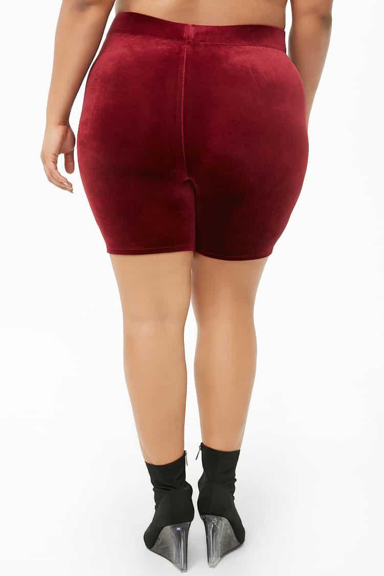 de7bd6ae936 Forever 21 Women s Plus Size Velvet Biker Shorts in Red - Lyst