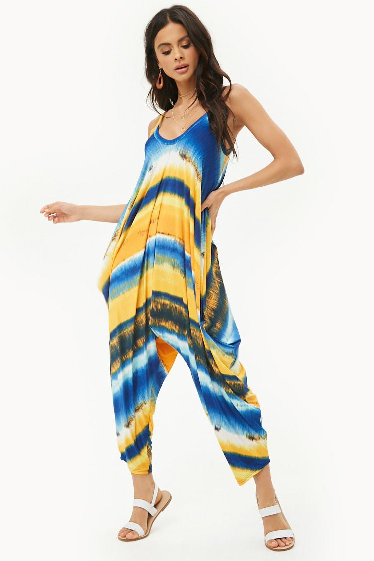1c9d014cc3f5 Lyst - Forever 21 Striped Trapeze Jumpsuit in Blue