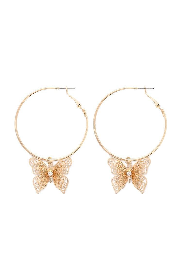 d0995b3b2fd82 Forever 21 - Metallic Butterfly Hoop Earrings - Lyst. View fullscreen