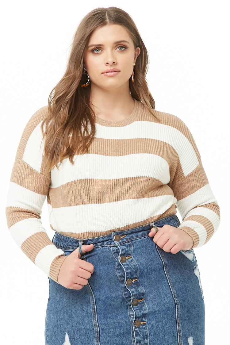 b6fa1e2fbf4c Forever 21 Plus Size Striped Knit Jumper Sweater in Natural - Lyst