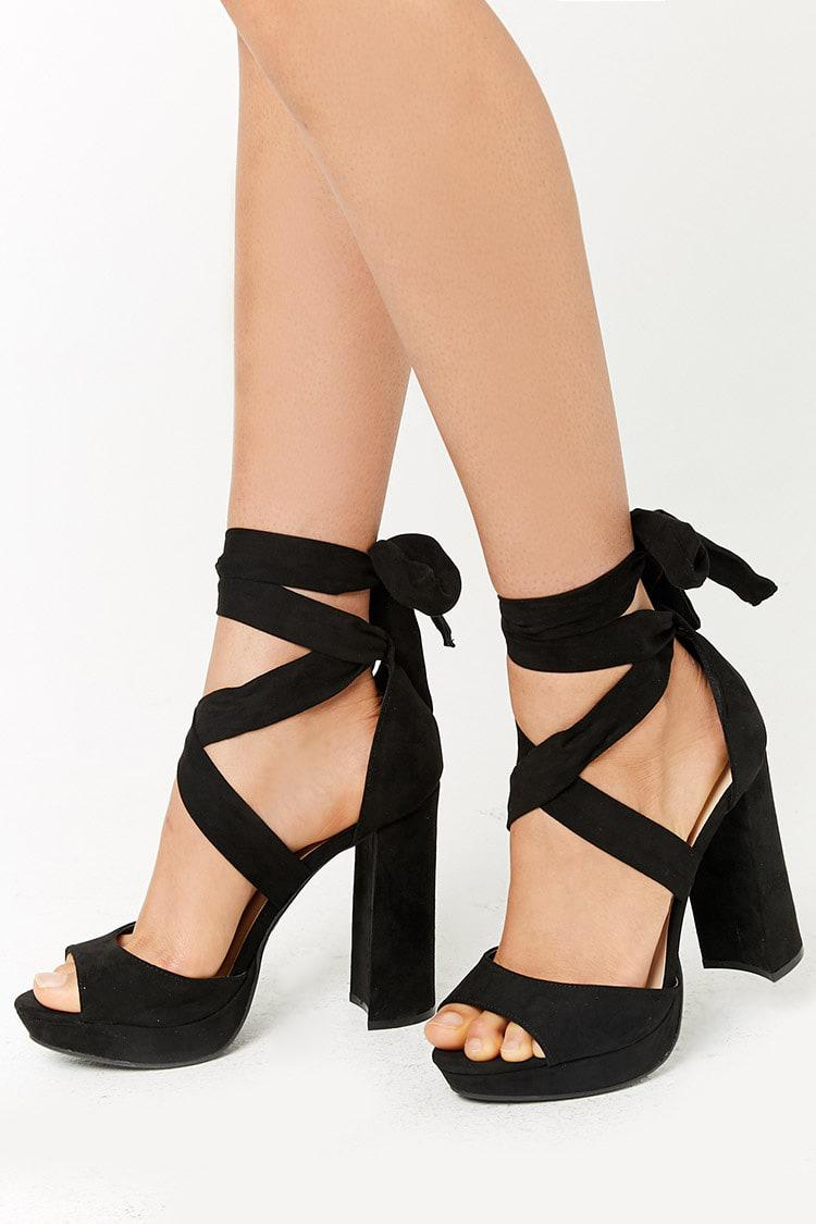 3e6a3ca6585 Lyst - Forever 21 Faux Suede Wraparound Platform Heels in Black