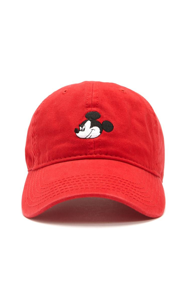 Lyst - Forever 21 Mickey Mouse Graphic Dad Cap in Red for Men 9f7a3fbce184