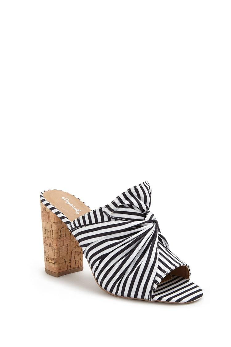112ee6009cc Forever 21 - White Qupid Striped Twist-front Slide Heels - Lyst. View  fullscreen