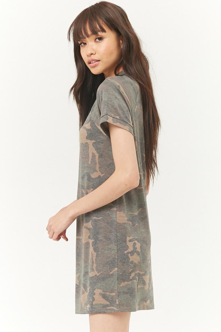 c9f01bfbce581 Lyst - Forever 21 Camo Raglan Mini T-shirt Dress