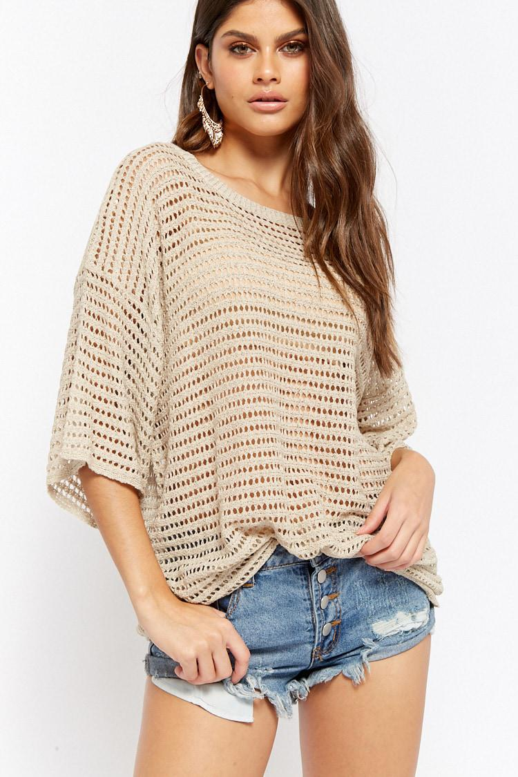 Lyst Forever 21 Sheer Open Knit Top In Natural