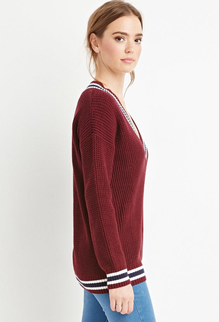 19101a3e549c7 Lyst - Forever 21 Varsity-striped Waffle Knit Sweater in Purple