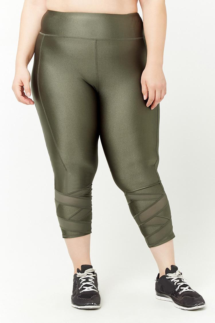 aad3c7f68013e1 Forever 21 - Green Women's Plus Size Active Mesh-panel Capri Leggings -  Lyst. View fullscreen