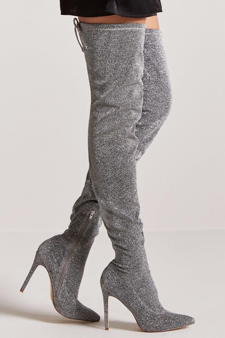 Forever 21 Metallic Over-the-Knee Boots Faux Vente En Ligne Meilleur Pas Cher Pas Cher Abordable Originale Pas Cher En Ligne 3rxN2tCL