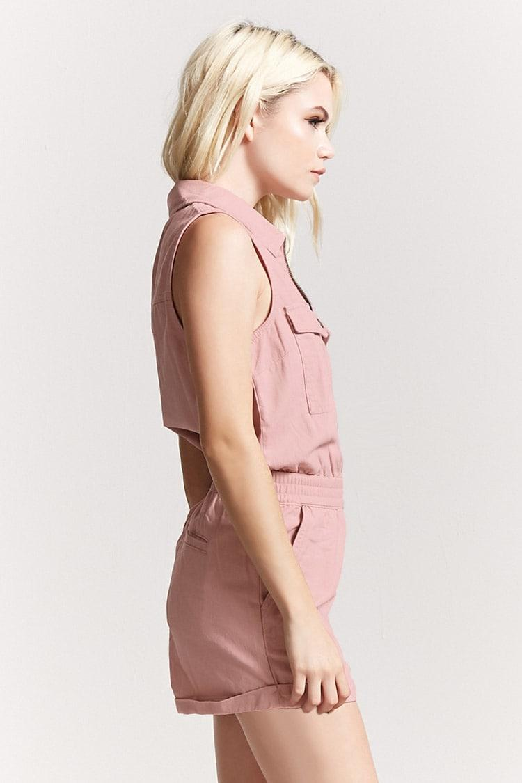 623dc276679 Lyst - Forever 21 Twill Zip-front Cargo Romper in Pink