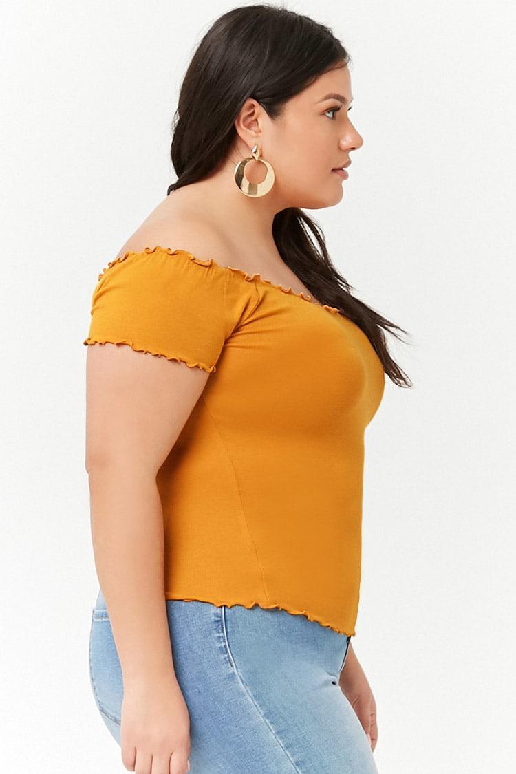 697c67e47d477 Forever 21 Women s Plus Size Off-the-shoulder Lettuce-edge Crop Top ...