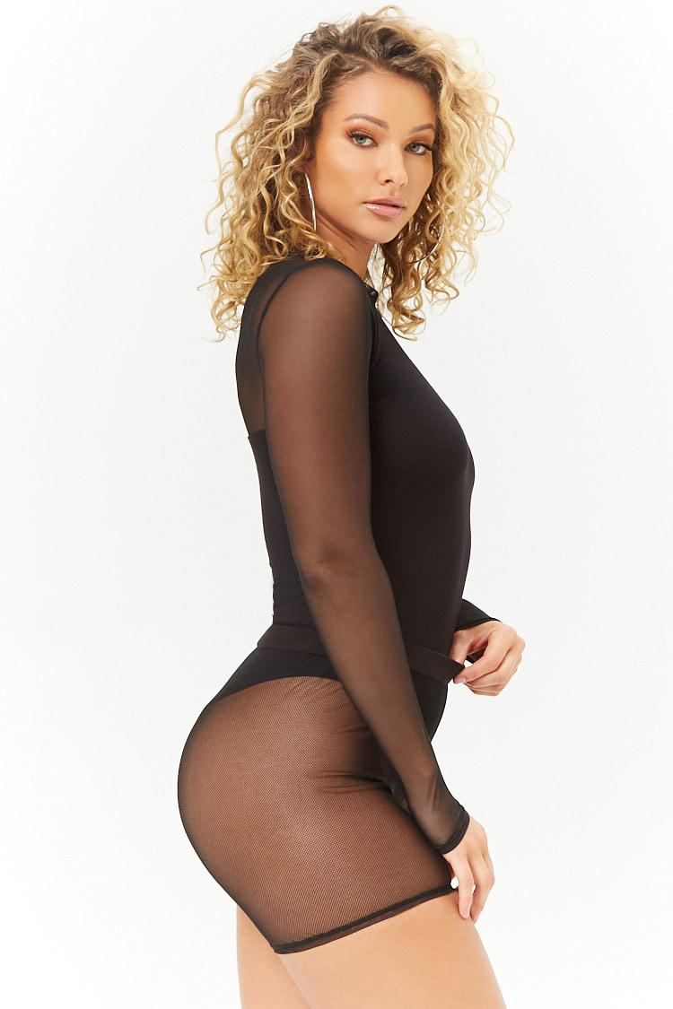 f672b14d1b92 ... Black Mesh Mock Neck Bodysuit - Lyst. View fullscreen