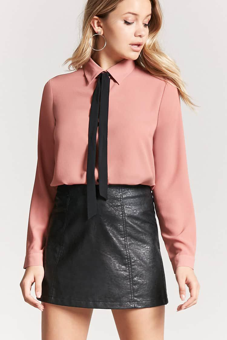 Lyst Forever 21 Textured Chiffon Self Tie Bow Shirt