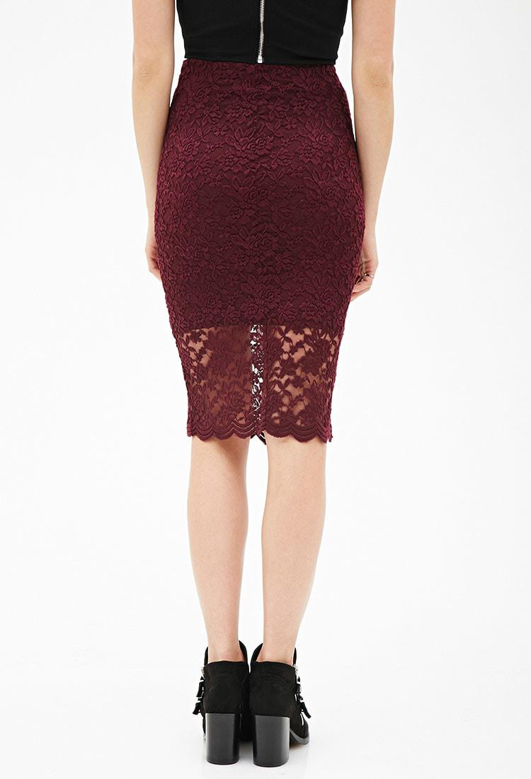 387648ecbb269 Forever 21 Floral Lace Pencil Skirt in Purple - Lyst