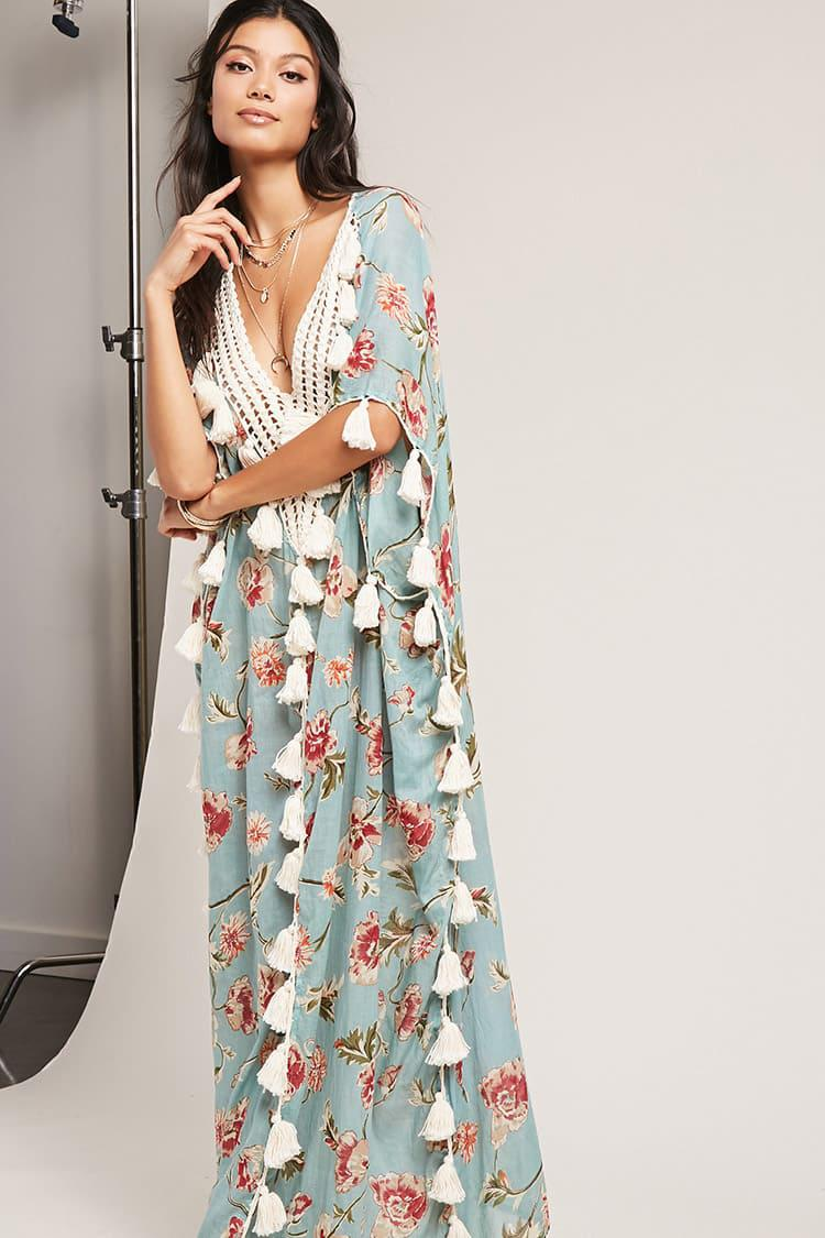 Lyst - Forever 21 Z l Europe Tassel Maxi Dress in Blue 0ba05d4f4