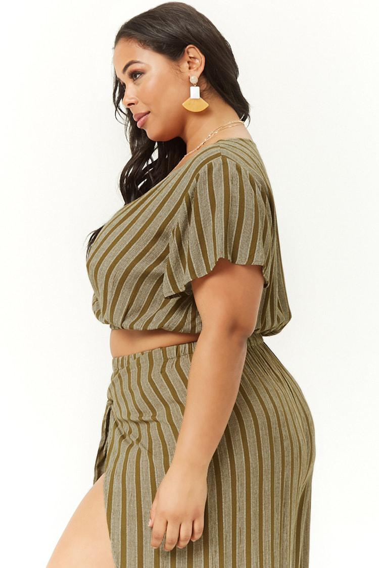 8429ea660ef Forever 21 - Green Plus Size Plunging Surplice Top - Lyst. View fullscreen