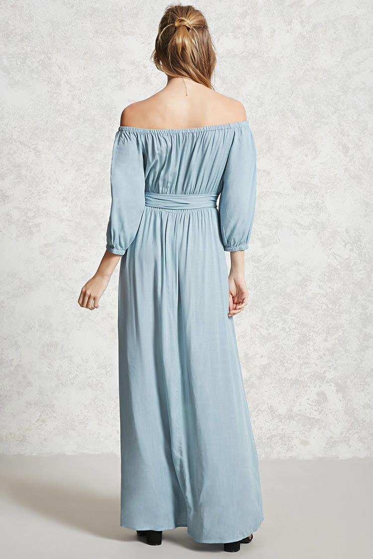 Lyst - Forever 21 Contemporary Belted Maxi Dress in Blue