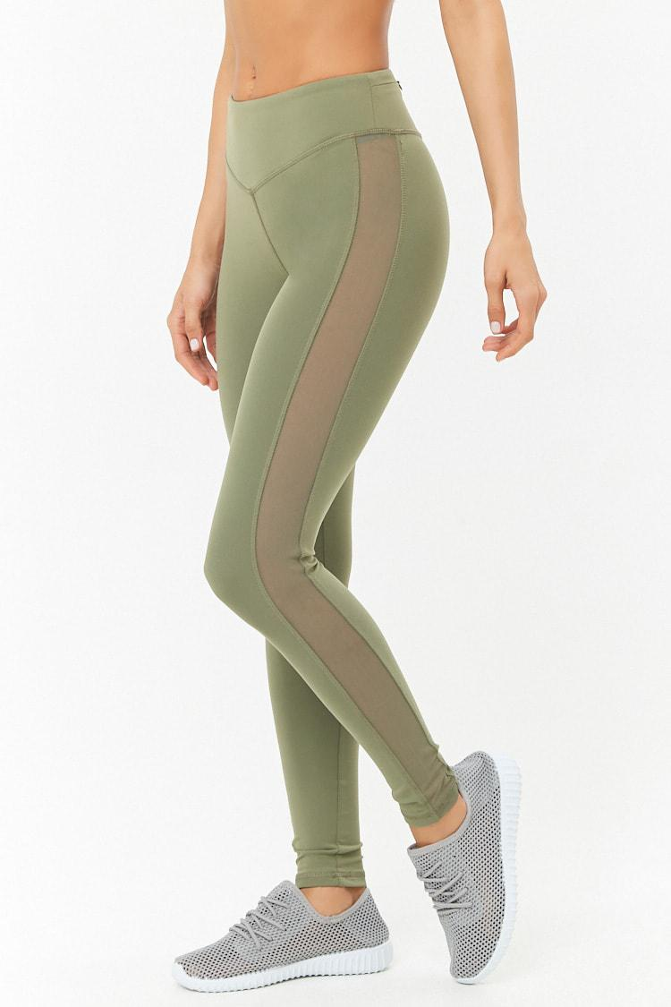 e082a6d0823aa Forever 21 Active Mesh Panel Leggings in Green - Lyst