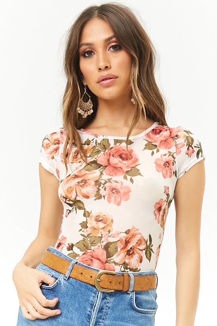 9f6168eaad10 Forever 21. Women's Floral Print Mesh Bodysuit