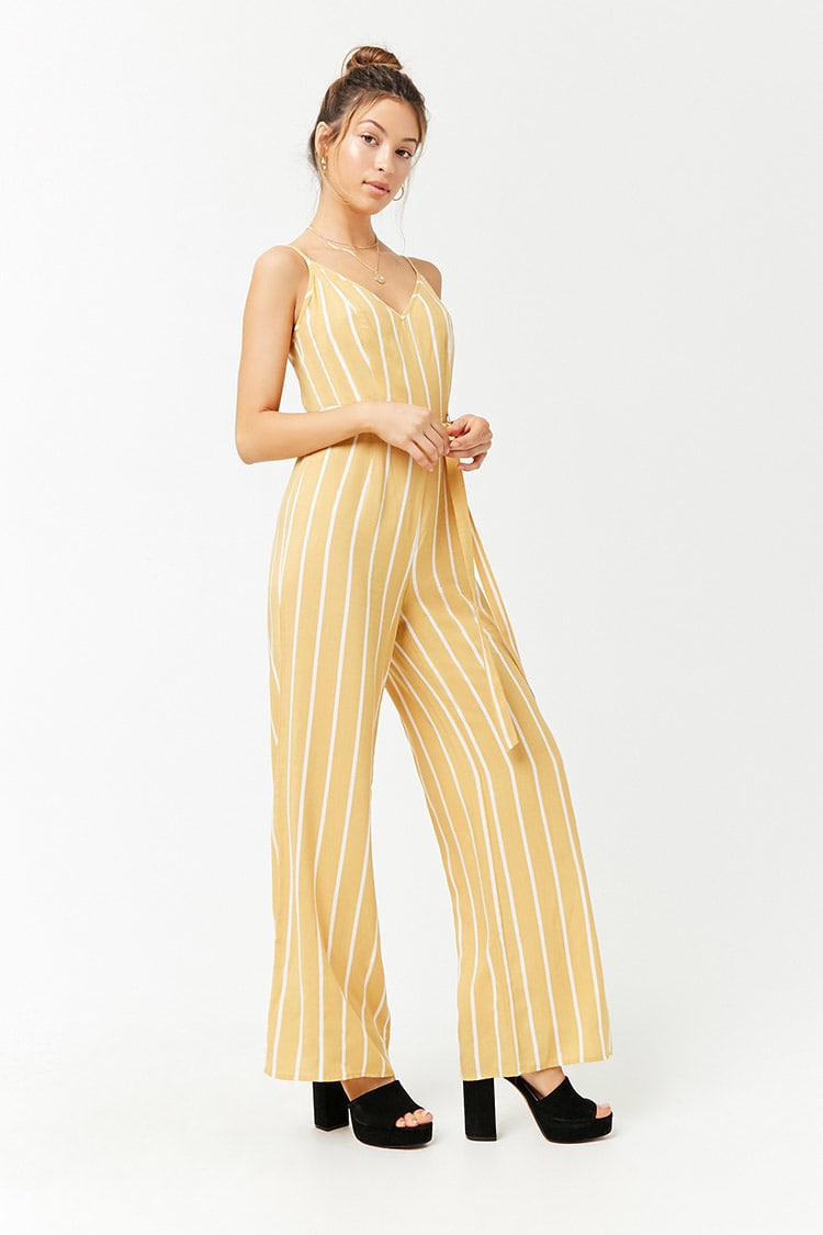f21d7ea8959 Forever 21 - Yellow Striped Cami Jumpsuit - Lyst. View fullscreen