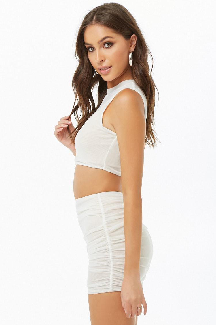 035e432f57 Forever 21 - White Mesh Crop Top   Mini Skirt Set - Lyst. View fullscreen